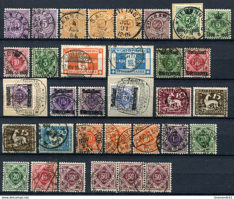 G 04) WÜRTTEMBERG - Lot Gestempelt GEPRÜFT Aus 1875-1920, 690.- € - Wuerttemberg