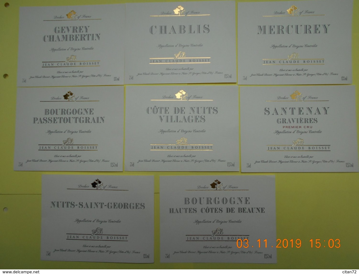 """Lot De 8 étiquettes De Vin """" BOURGOGNE """" - Collections & Sets"""