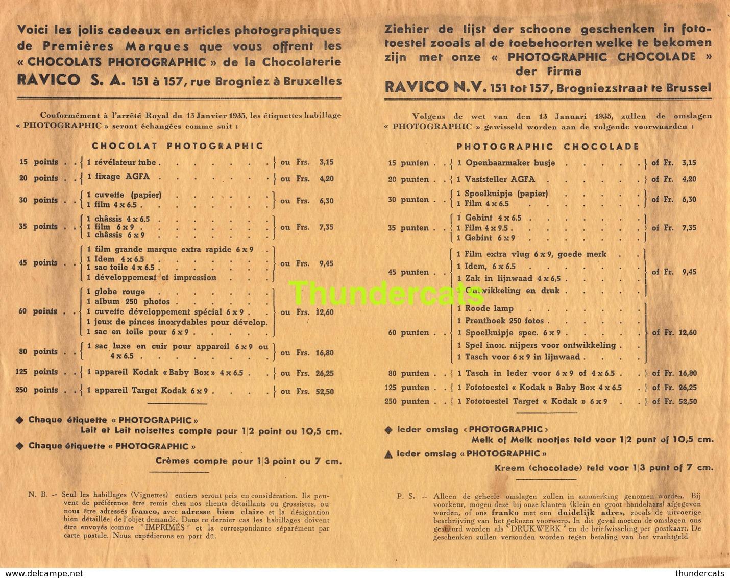 RARE ! LISTE ANCIENNE DES CADEAUX ETIQUETTE EMBALLAGE ETIKET LABEL CHOCOLADE CHOCOLAT RAVICO ALI ALITEX BRUXELLES - Labels