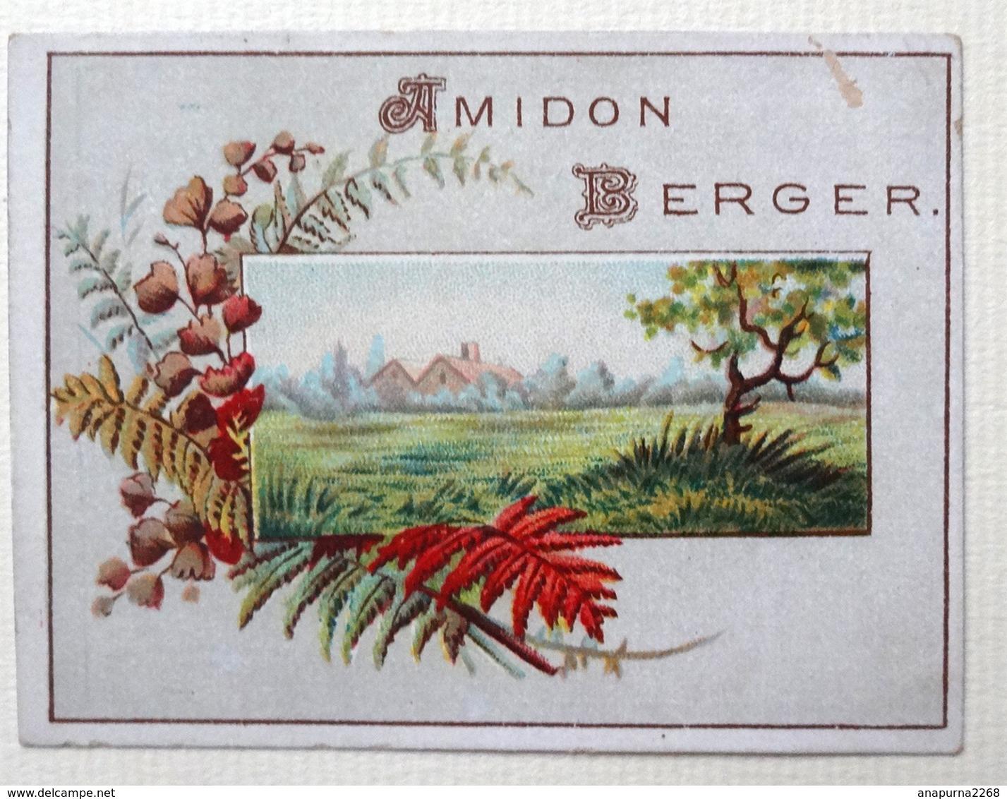 . CALENDRIER 1889...RARE PETIT CHROMO .....AMIDON BERGER.......PAYSAGE AUTOMNE - Calendriers
