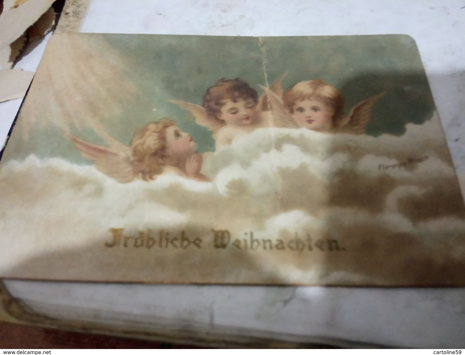 4 BIGLIETTINI  ANGELI  FIORI  BUON E FESTE  1 DIPINTO A MANO 1900/1950  HG1480 - Old Paper