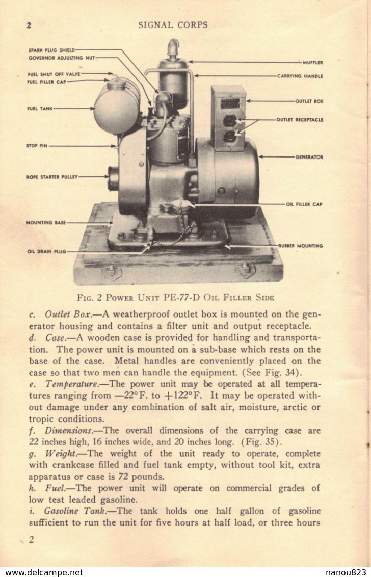WASHINGTON OCTOBER 1943 WAR DEPARTMENT TECNICAL MANUAL POWER UNIT PE 77 D PUBLISHED BY CLIMAX ENGINEERING - Forces Armées Américaines