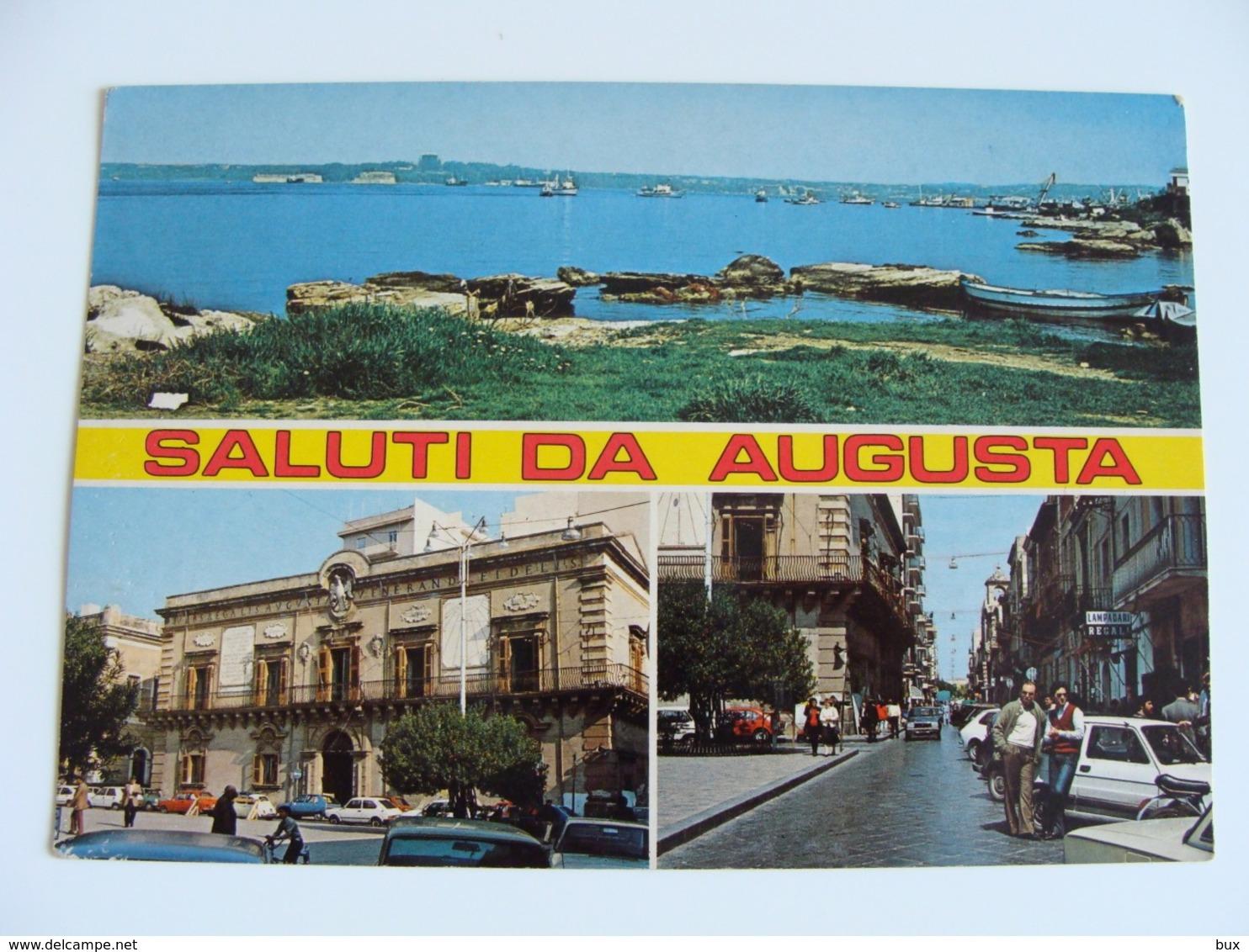 SALUTI  DA AUGUSTA (SR)  SIRACUSA   SICILIA  NON  VIAGGIATA CONDIZIONI FOTO - Siracusa