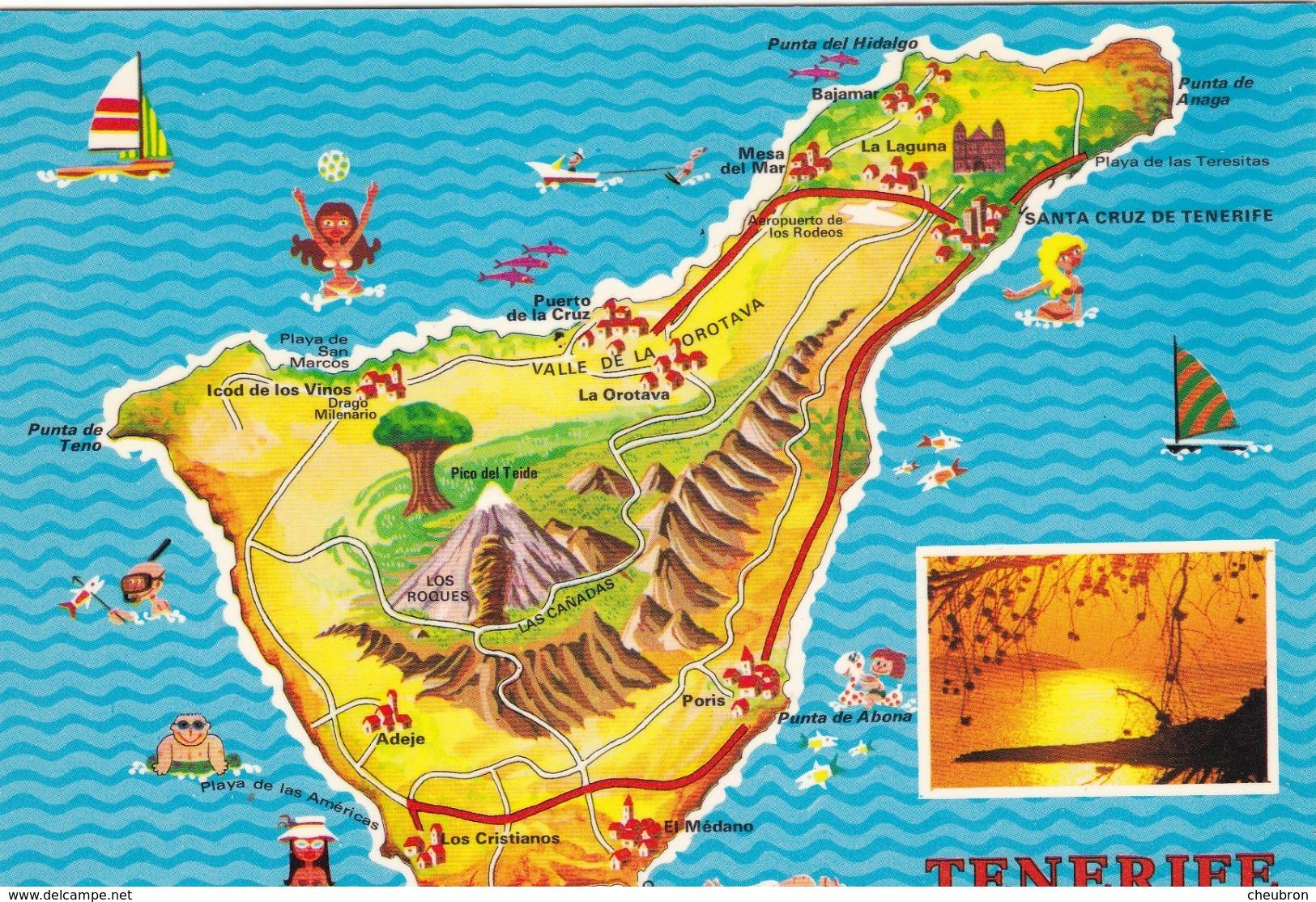ESPAGNE. . 2 CARTES. CARTE GÉOGRAPHIQUE DES ÎLES CANARIES. CARTE GÉOGRAPHIQUE DE TENERIFE. - Tenerife