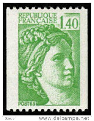 France Sabine De Gandon N° 2157 ** Roulette Le 1.40 Fr Vert - 1977-81 Sabine (Gandon)