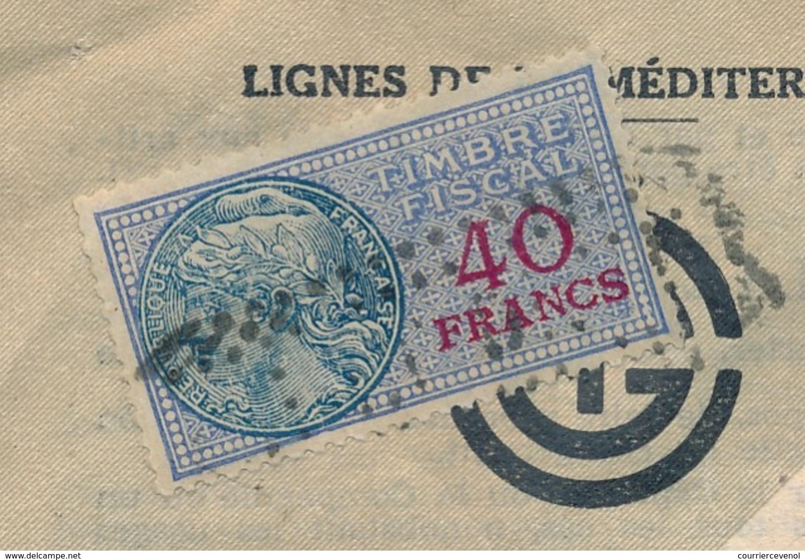 ALGERIE - FISCAUX 20F Type Médaillon De Daussy X 11 Ex (Compagnie Générale Transatlantique - 1949) Sur Doc Entier - Algérie (1924-1962)