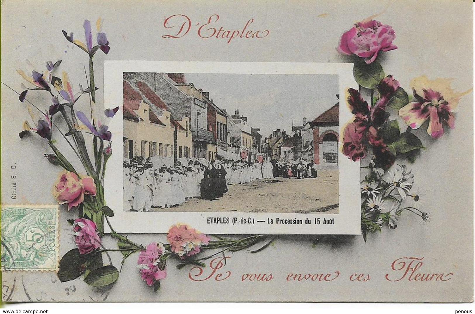 ETAPLES Carte Fantaisie, En Vignette La Procession Du 15 Août - Etaples