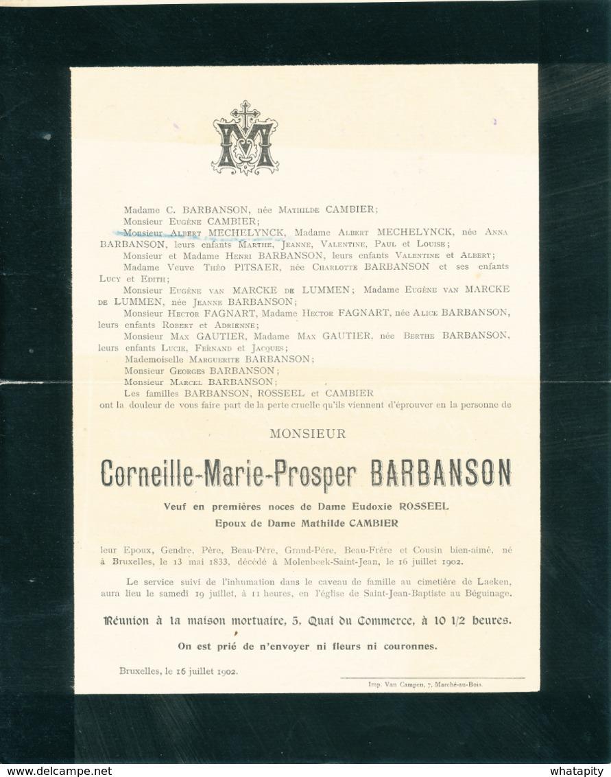 350/30 -- PREO Roulette BRUXELLES Chancellerie 1902 - DOUBLE ROULETTE RARE - Sur Faire-Part De Deuil Vers GRAMMONT - Roller Precancels 1900-09