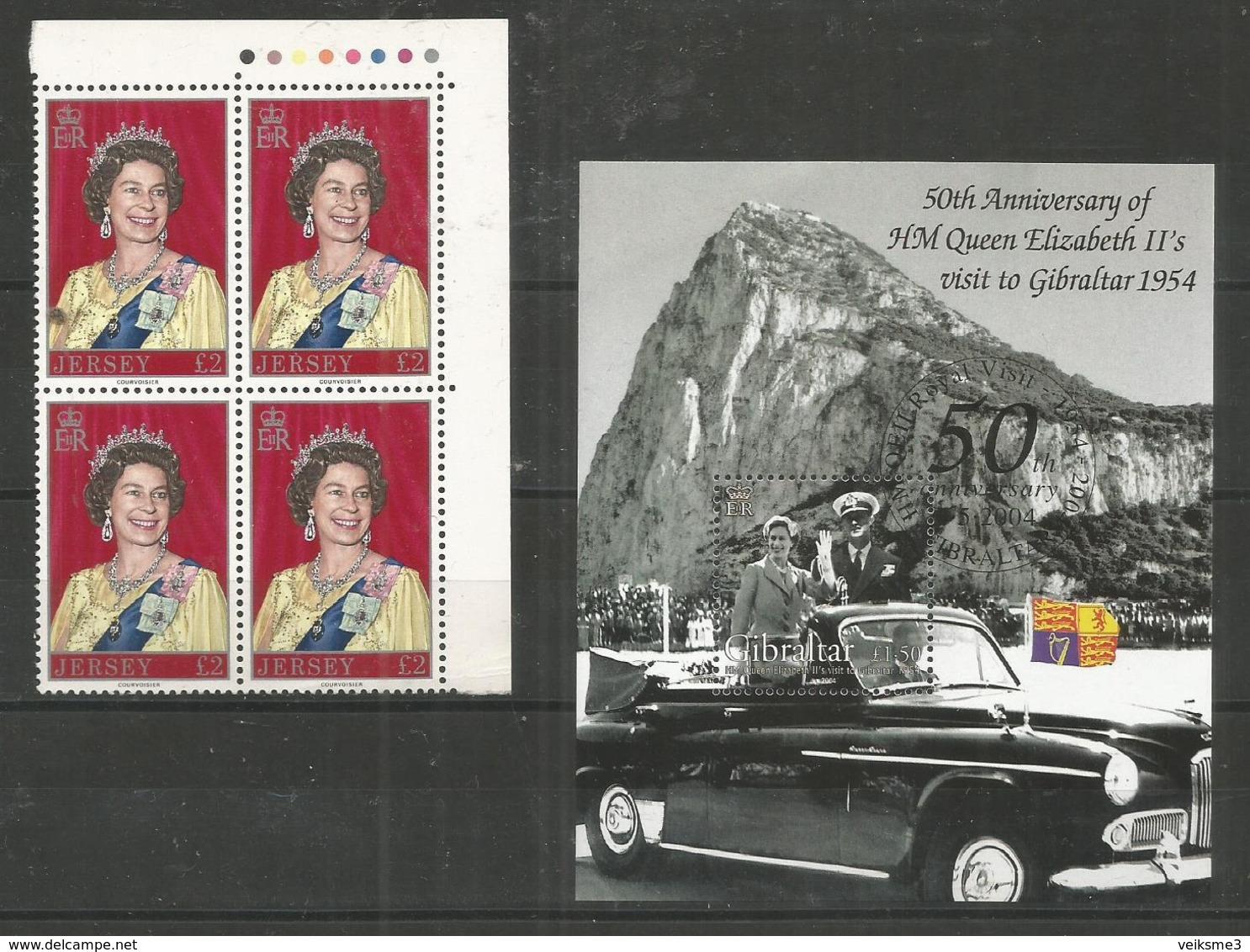 2 Pcs JERSEY - GIBRALTAR - MNH - Famous People - Elizabeth II - Celebridades