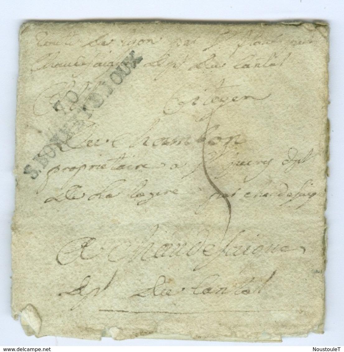 Saône Et Loire S.BONNET.DJOUX Révolutionnaire Linéaire Sur Lettre Pour Chaudes-Aigues Cantal SD Voir Scan - 1701-1800: Precursores XVIII