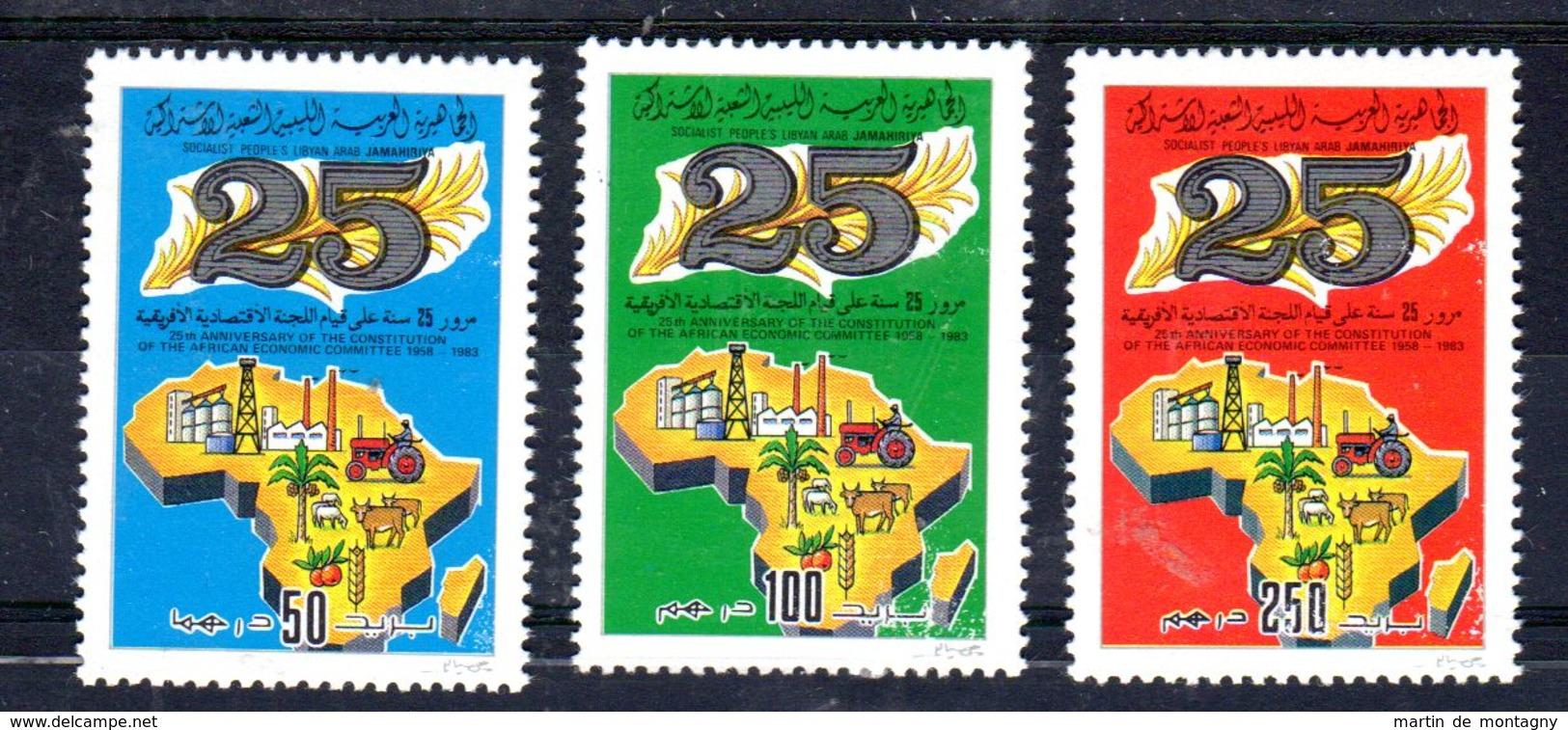 20.4.1983; Comitée économique Afrique;  YT 1155 - 1157; Neuf **, Lot 52015 - Libia