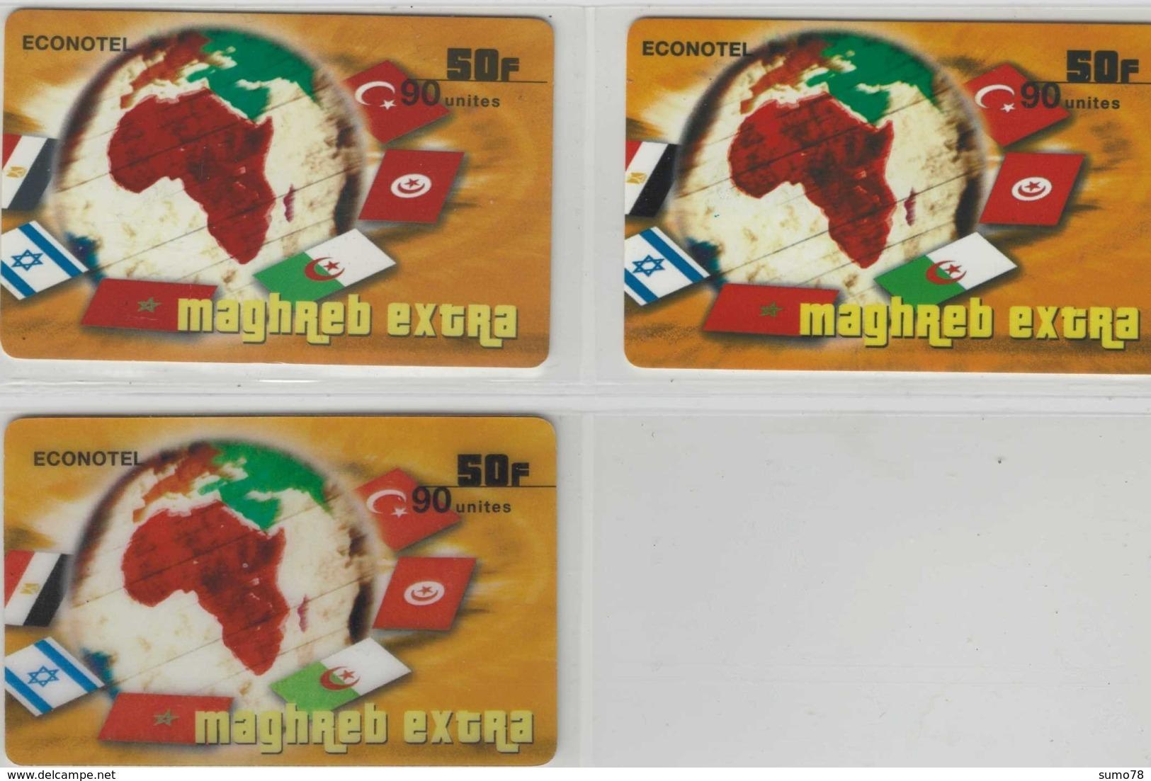 Lot De 3 Cartes Prépayées Différentes - ECONOTEL MAGRHEB EXTRA   -  Prépaid  - (valeur Et/ou Verso  Différent) - Andere Voorafbetaalde Kaarten
