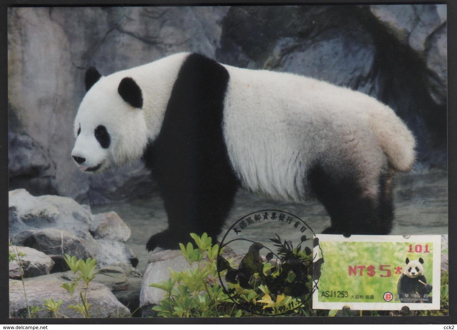 Taiwan(Formosa) Carte Maximum Card -Giant Panda ATM Label #101 Red Imprint - ATM - Frama (vignette)