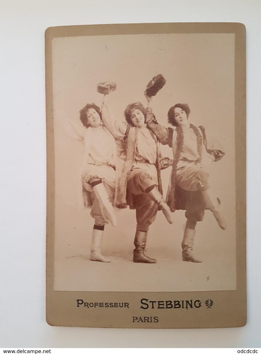 PHOTO  Cartonnée 3 Jeunes Et Belles Danseuses Russes Professeur STEBBING  PARIS  RV   Bd Des Italiens Et 60 Rue De Gramm - Anonymous Persons