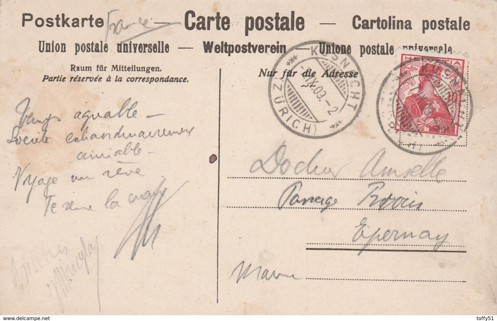 CPA COULEUR:SUISSE HÔTEL SONNE K¨SNACHT E.GUGGENBUHL MÜLLER PROPRIÉTAIRE...ÉCRITE - Suiza