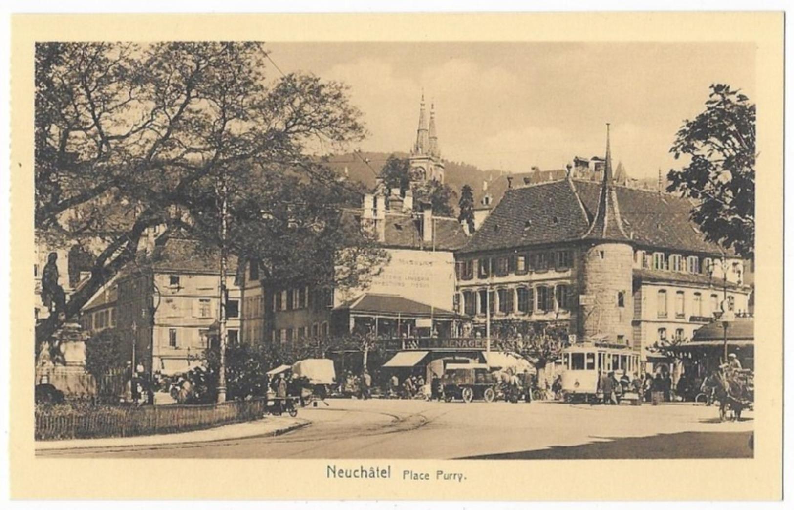Neuchatel Tramway A La Ménagère Place Purry - NE Neuchâtel