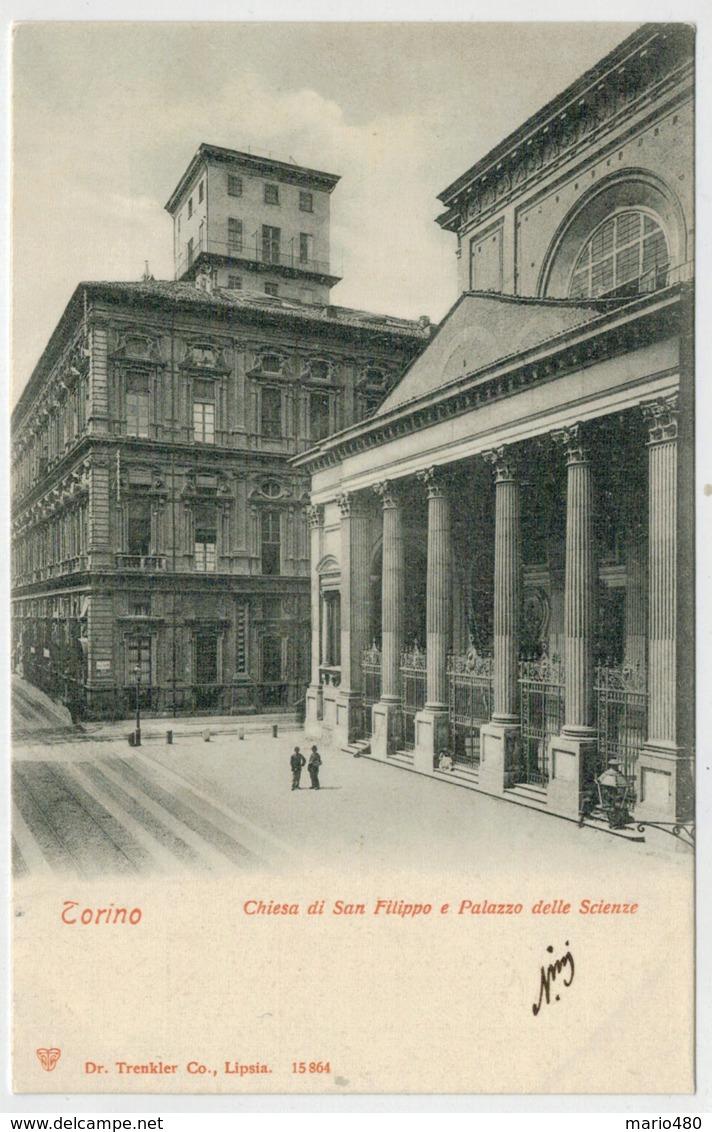TORINO   CHIESA   DI  S.  FILIPPO   E  PALAZZO  DELLE  SCIENZE            2 SCAN  (NUOVA) - Churches