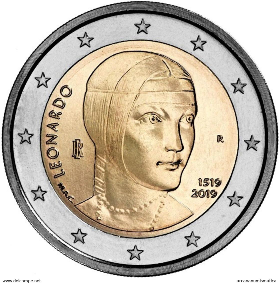 """ITALIA  2€ 2.019  2019  BIMETÁLICA   """"LEONARDO DA VINCI""""  SC/UNC    T-DL-12.319 - Italia"""
