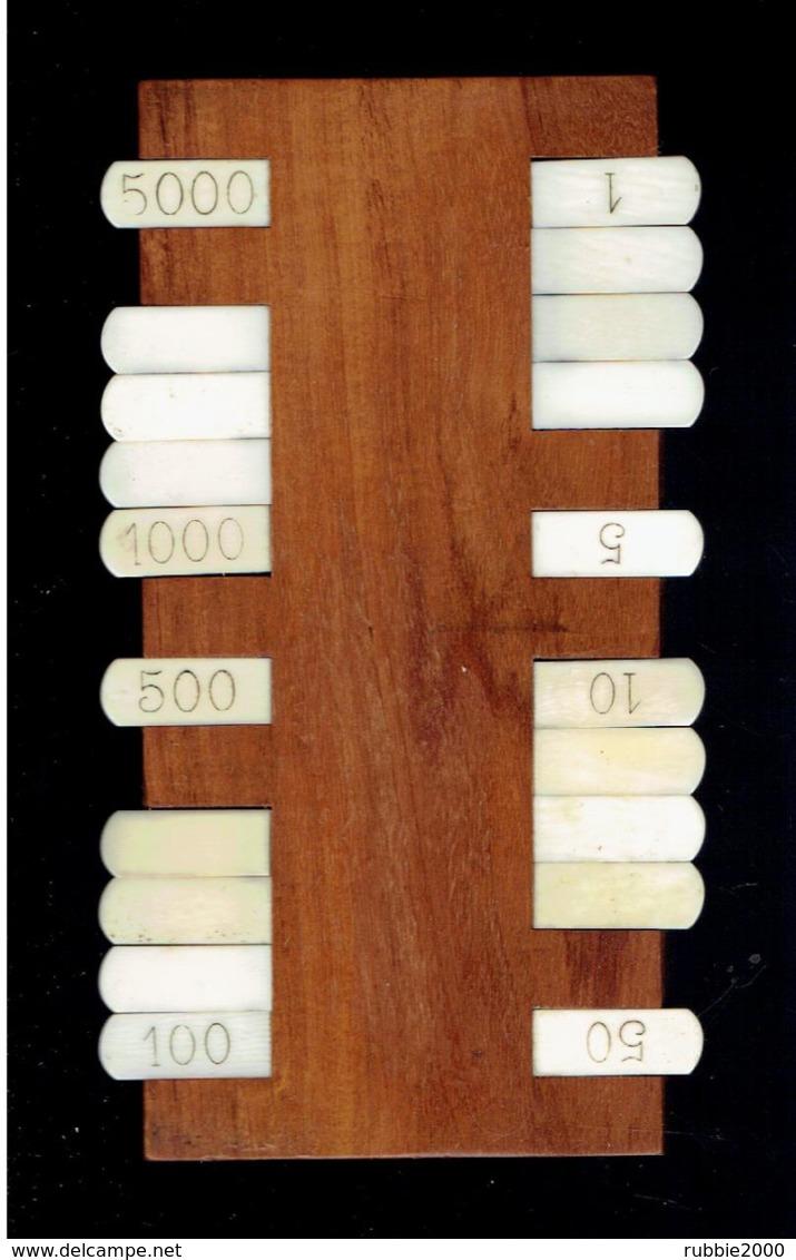 MARQUEUR DE POINTS BRIDGE BESIGUE WHIST PIQUET 1 A 5000 POINTS OS ET BOIS CLAIR - Spielkarten