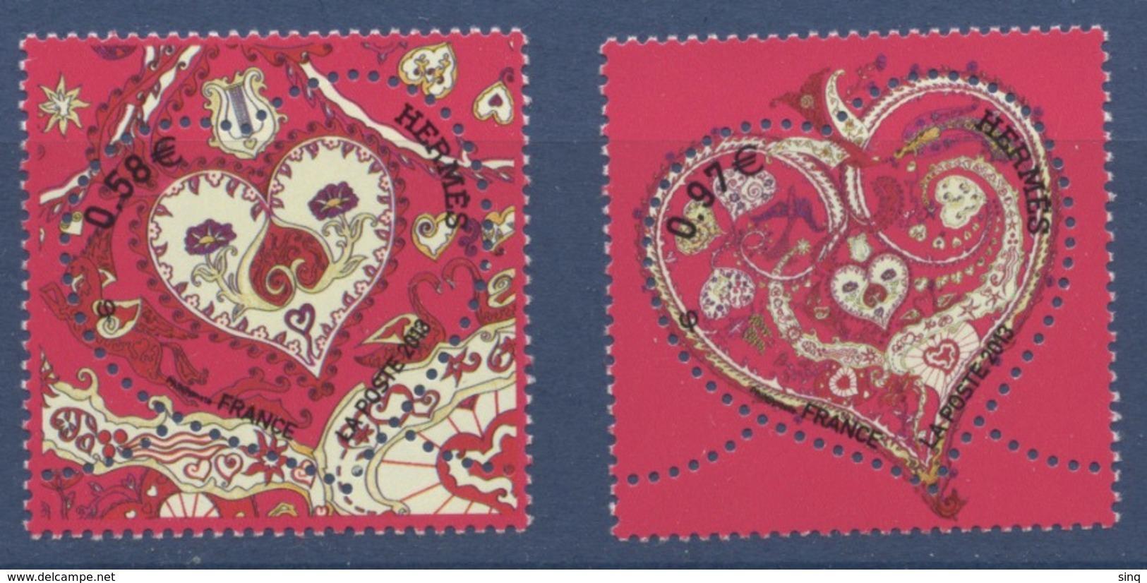 """N° 4717 Et 4718 Saint Valentin """"De Tout Coeur"""" Hermès Faciale 0,58+0,97€ - Unused Stamps"""