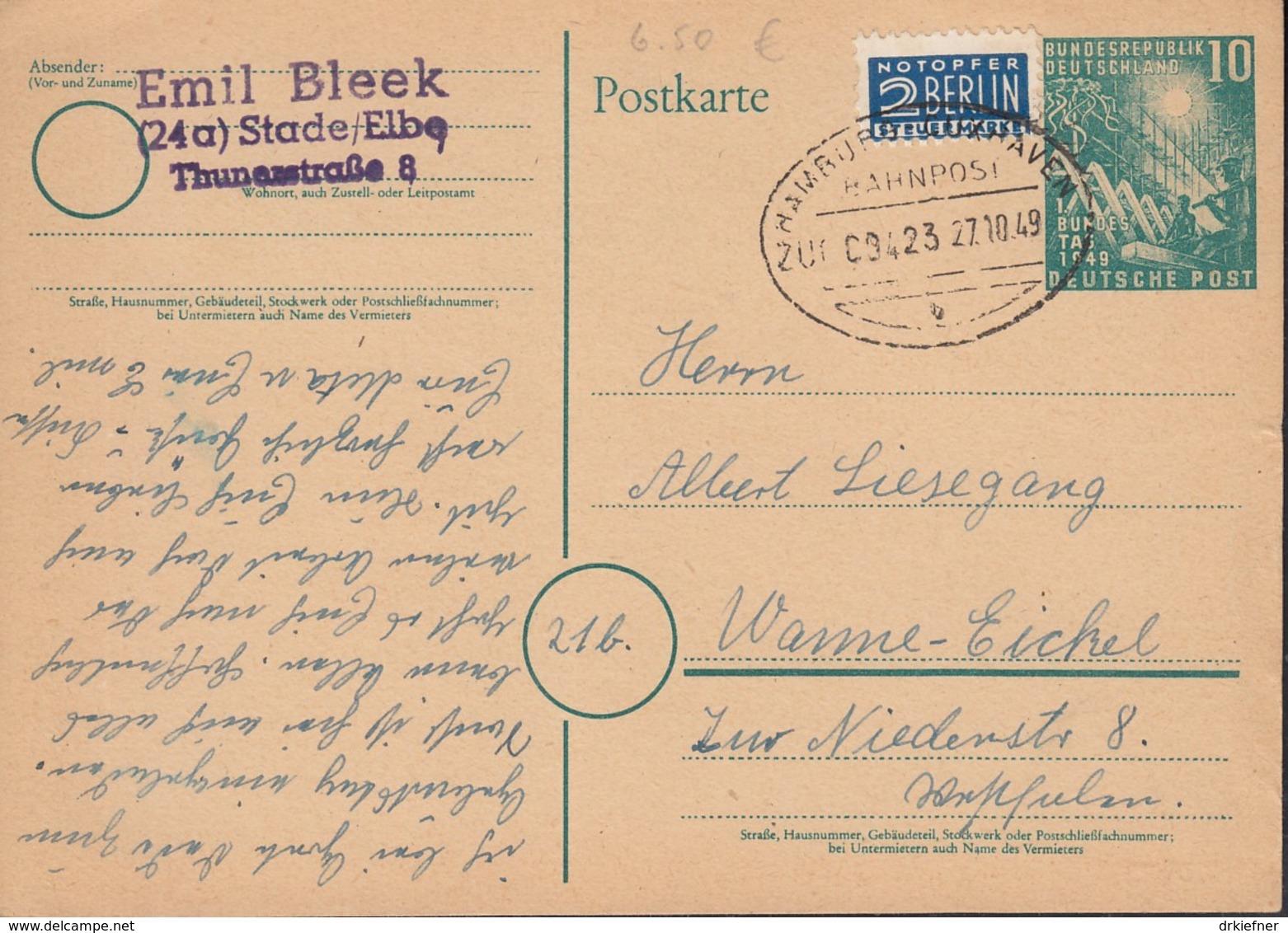 BRD PSo 1, Mit Bahnpost Stempel: Hamburg-Cuxhaven ZUG 00423 27.10.1949 - [7] West-Duitsland