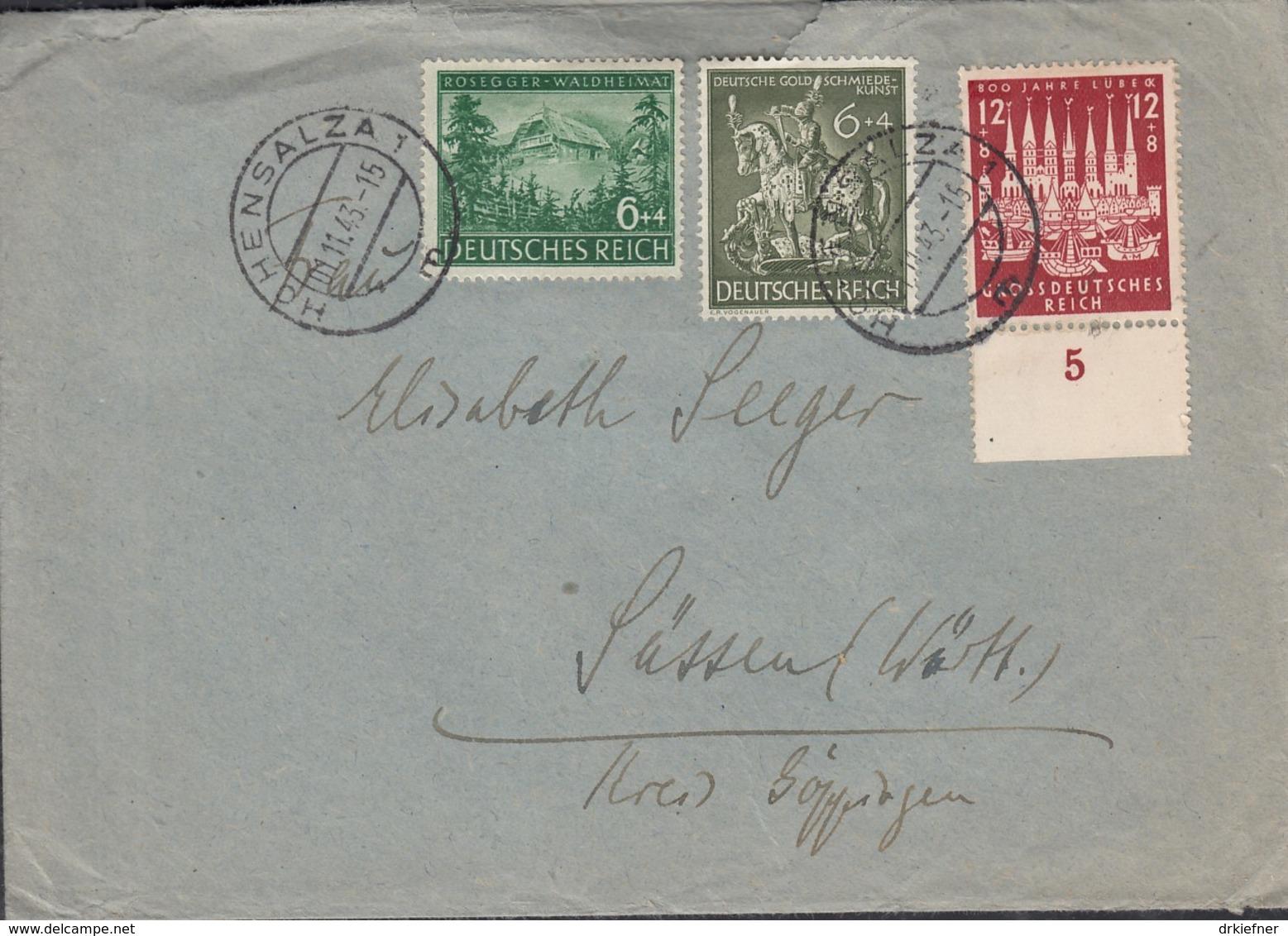 DR  855, 860, 862 MiF, Auf Brief Mit Stempel: Hohensalza 1.11.1943 - Duitsland