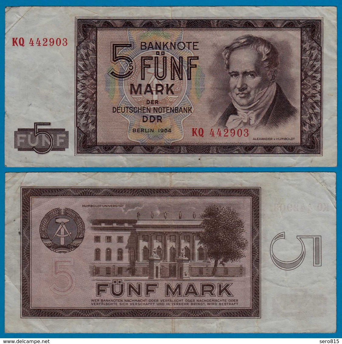 DDR Banknote 5 Mark 1964 Ros. 354a VF (3)   (20969 - Zonder Classificatie