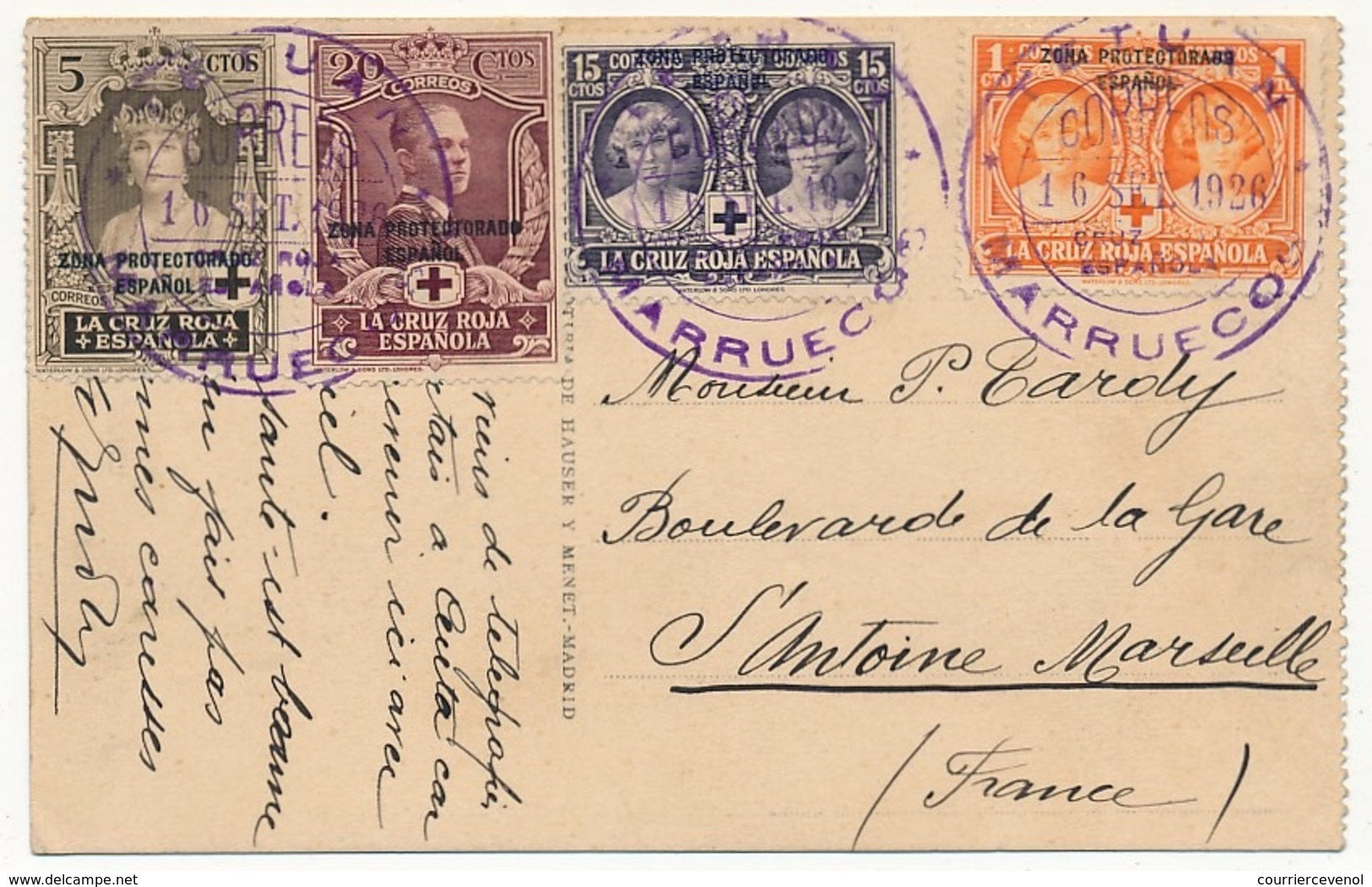"MAROC ESPAGNOL - Carte Postale Affr. Composé TP Surchargés ""Zona Protectorado Espanol"" TETUAN 1926 - Maroc Espagnol"