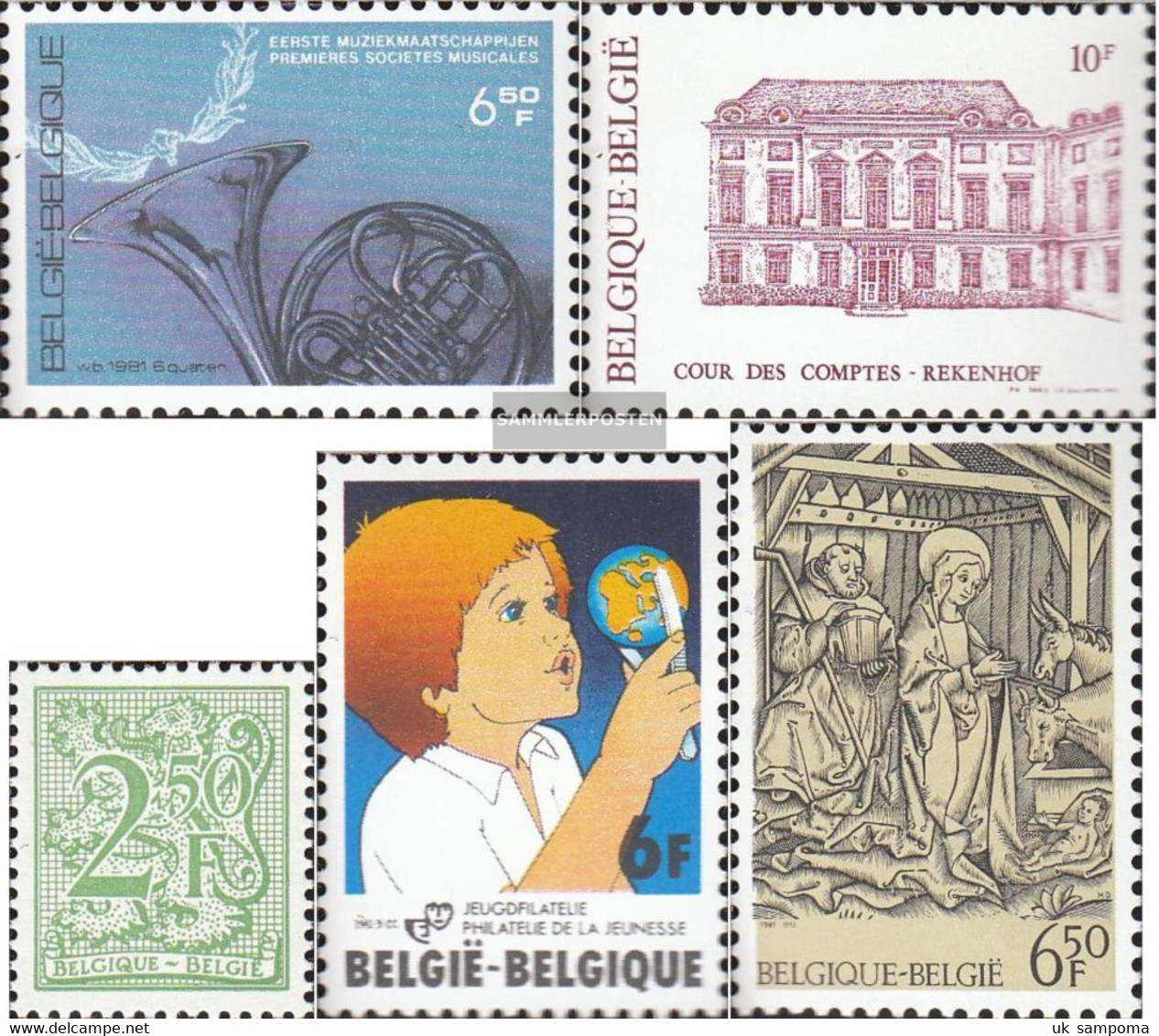Belgium 2068,2069,2071,2073,2082 (complete Issue) Unmounted Mint / Never Hinged 1981 BrAss BAnd, Court U.A. - Belgium