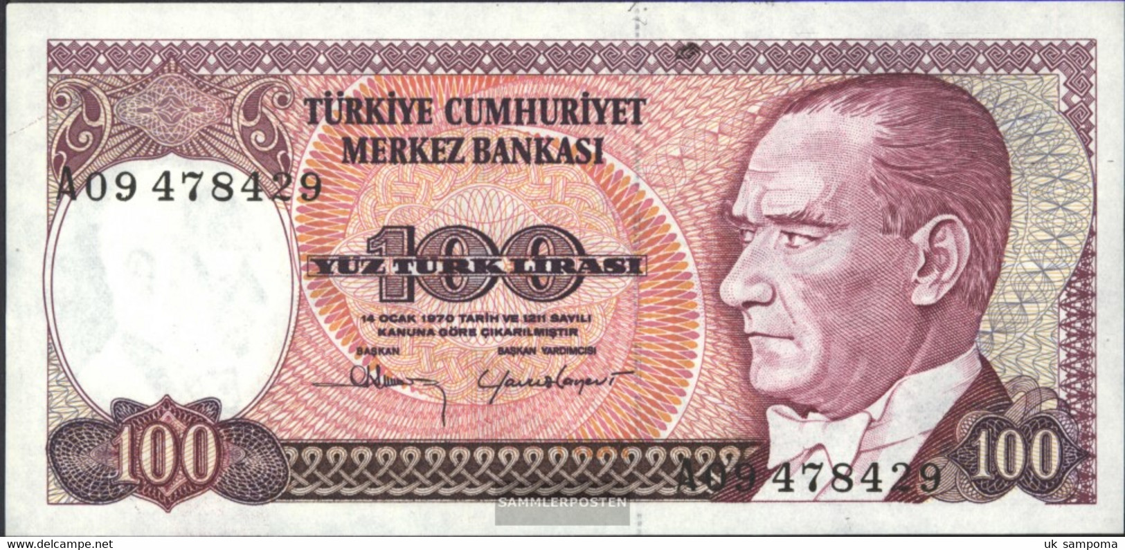 Turkey Pick-number: 194a Uncirculated 1970 100 Lira - Turkey
