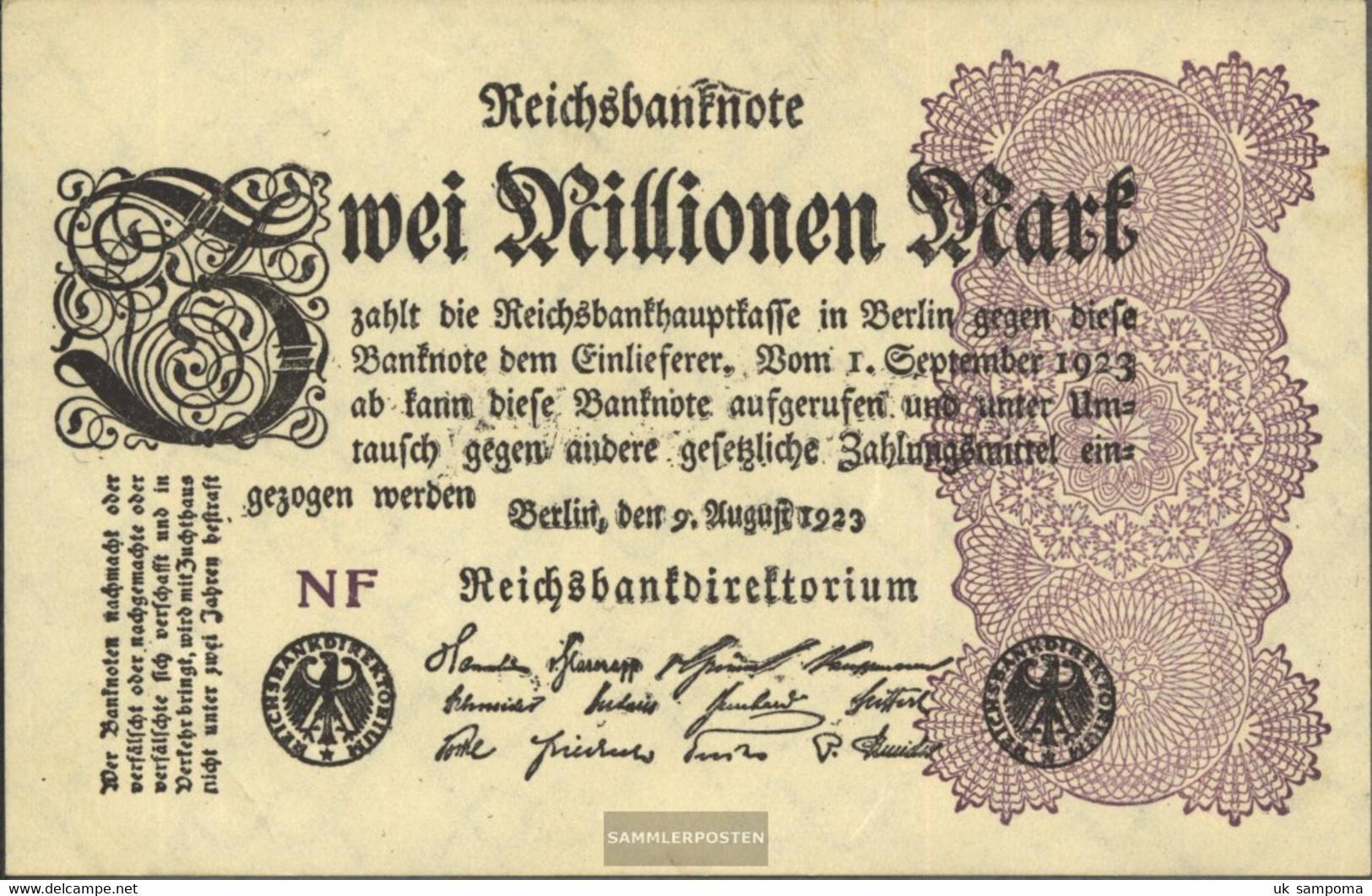 German Empire Pick-number: 103d WZ. Grid With 8 Uncirculated 1923 2 Million Mark - 2 Millionen Mark