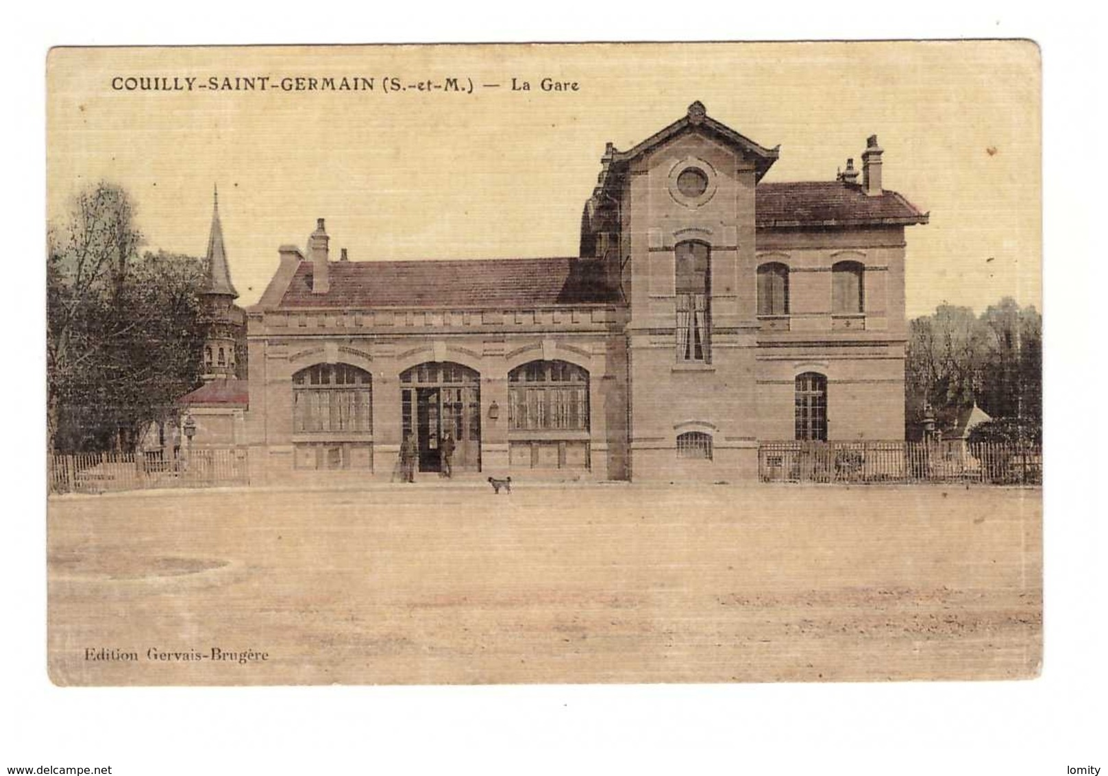 77 Couilly Saint Germain La Gare Cpa Carte Colorisée Toilée , Voir état Ci Dessous - Autres Communes