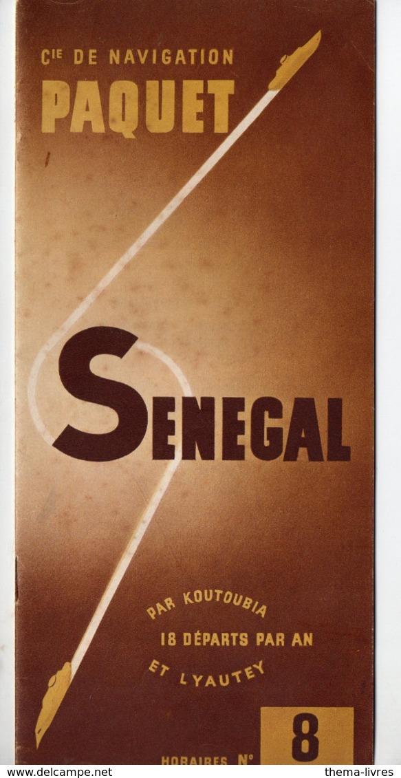 (paquebots) Plaquette  PAQUET :  SENEGAL  Horaire N°8  1952 (PPP11398) - World