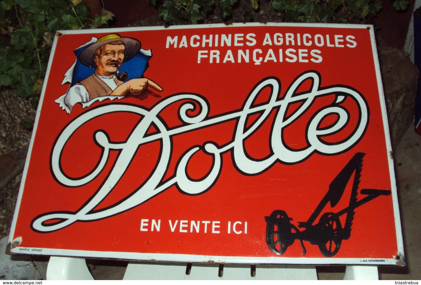 """Plaque Publicitaire Agricole Ancienne émaillée """"DOLLE"""", Dimensions: 68x48cm, Signée émaillerie Alsacienne De Strasbourg - Farm"""