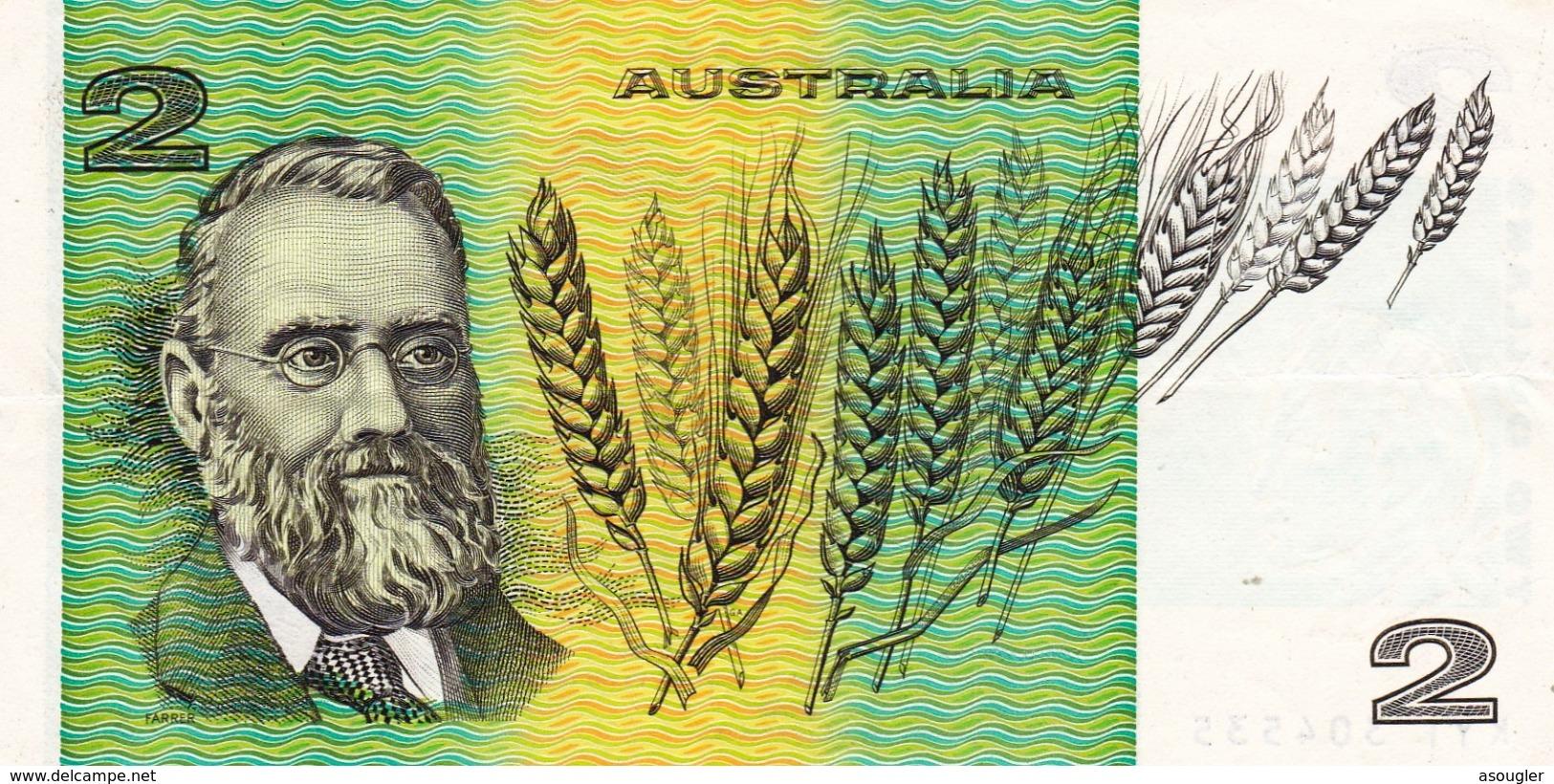 "AUSTRALIA 2 DOLLARS ND 1985 VF P-43e ""free Shipping Via Registered Air Mail"" - 1974-94 Australia Reserve Bank (Banknoten Aus Papier)"