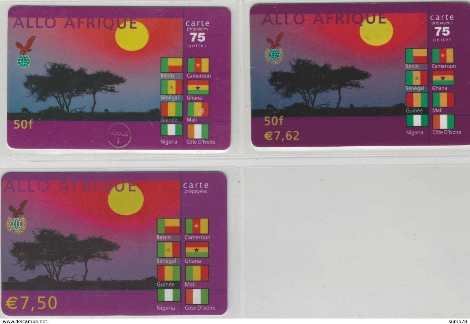 Lot De 3 Cartes Prépayées Différentes - ALLO AFRIQUE   -  Prépaid  - (valeur Et/ou Verso  Différent) - Andere Voorafbetaalde Kaarten