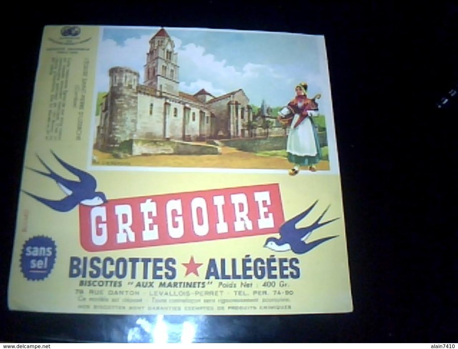 Buvard PUBLICITAIRE Thème ALIMENTAIRE Biscottes Grégoire  L EGLISE St Pierre D UZERCHE Estampillé DUPUICH - G