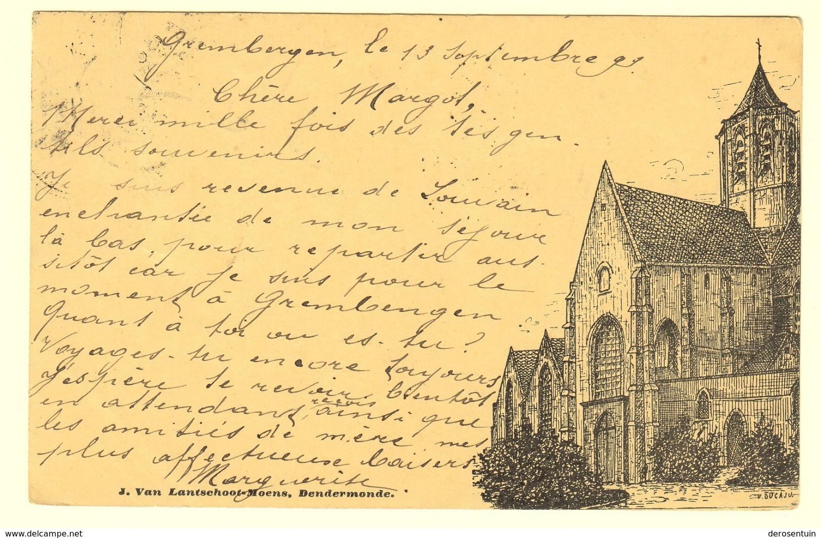 A0085[Postkaart] [Dendermonde Onze Lieve Vrouwkerk] (J. Van Lantschoot-Moens) [1899 Ducaju Kerk Termonde église] - Dendermonde
