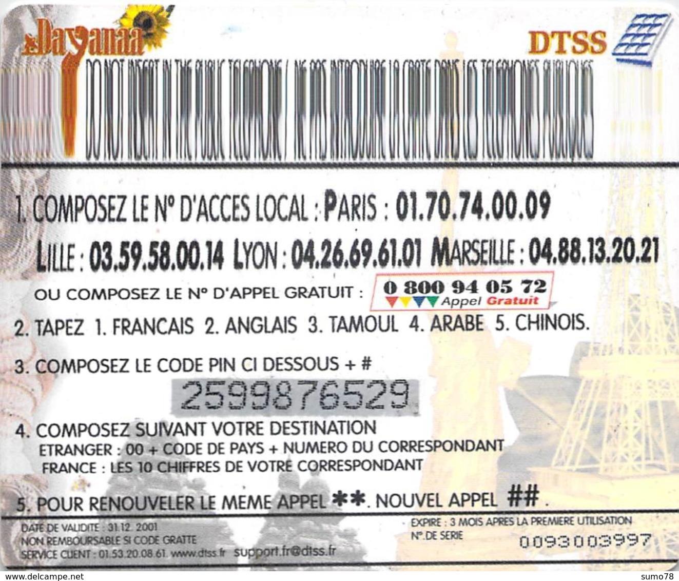 DAYANAA DTSS  -  Prépaid - Carte Prépayée  - - Andere Voorafbetaalde Kaarten