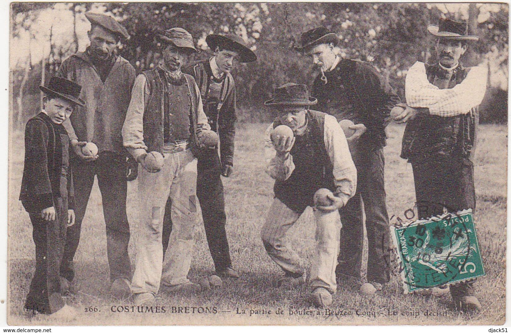 29 - COSTUMES BRETONS - La Partie De Boules à Beuzec-Conq - Le Coup Décisif - 1910 - Beuzec-Cap-Sizun