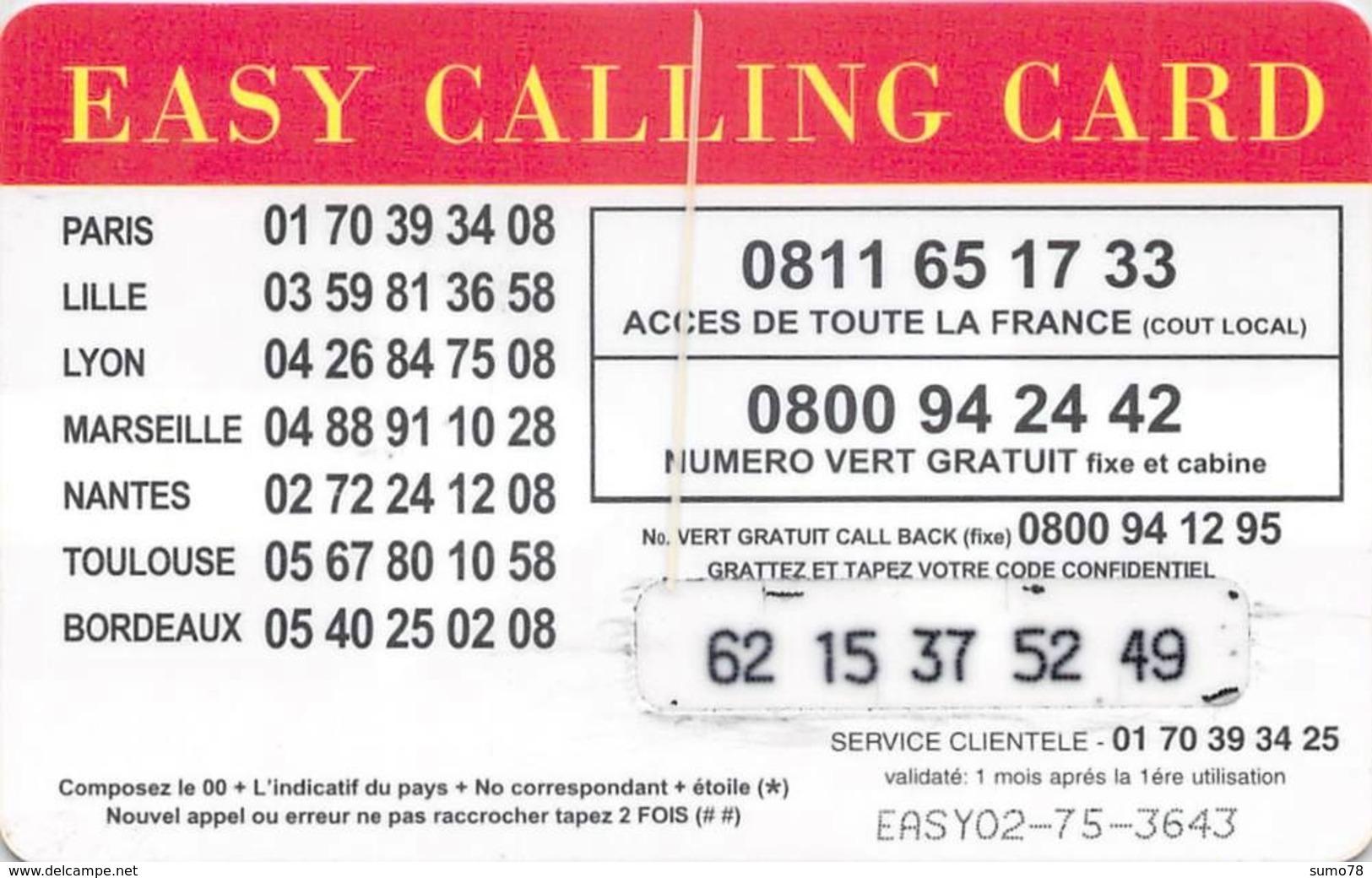 Carte Prépayée  - EASY CALLING CARDL  -  Prépaid  - - Frankrijk