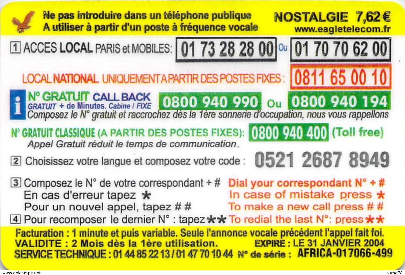 Carte Prépayée  - NOSTALGIE AFRICA   -  Prépaid  - - Frankrijk