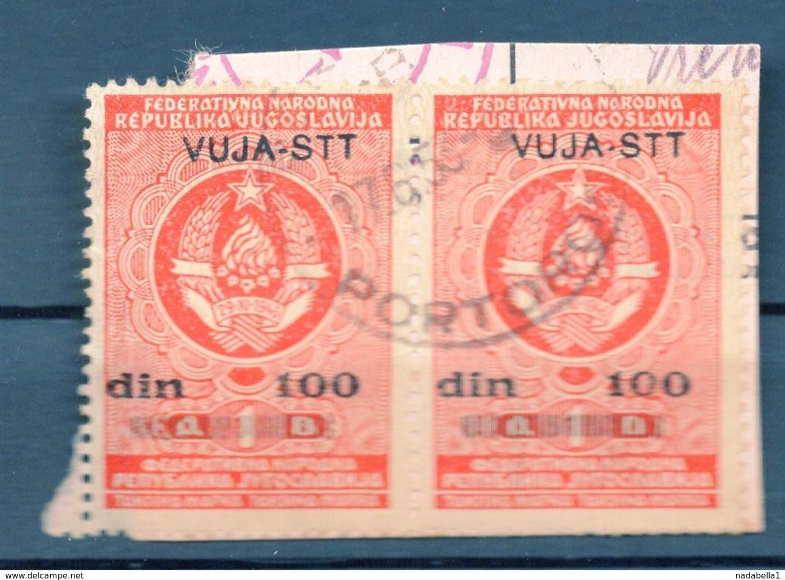 VUJA - STT, 2 REVENUE STAMPS, 100 DINARA, RED - Yugoslavia