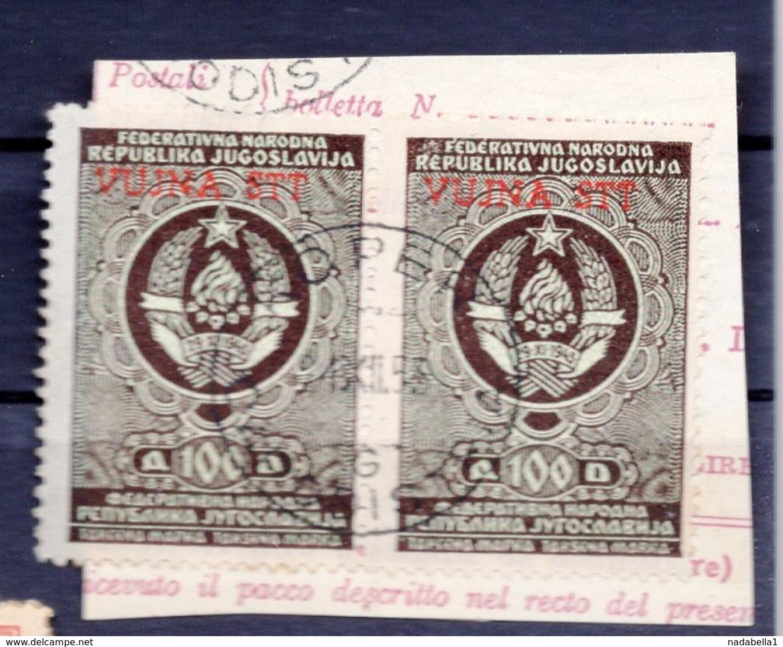 VUJA - STT, 2 REVENUE STAMPS, 100 DINARA, BLACK - Yugoslavia