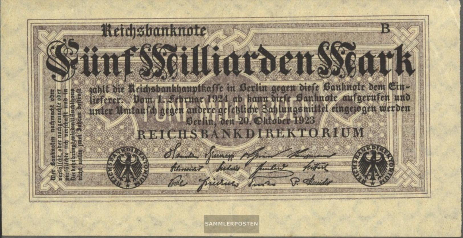 Deutsches Reich Rosenbg: 120d, Senza Kontrollnummer Con Firmenzeichen Usato (III) 1923 5 Miliardi Di Euro Mark - 5 Miljard Mark