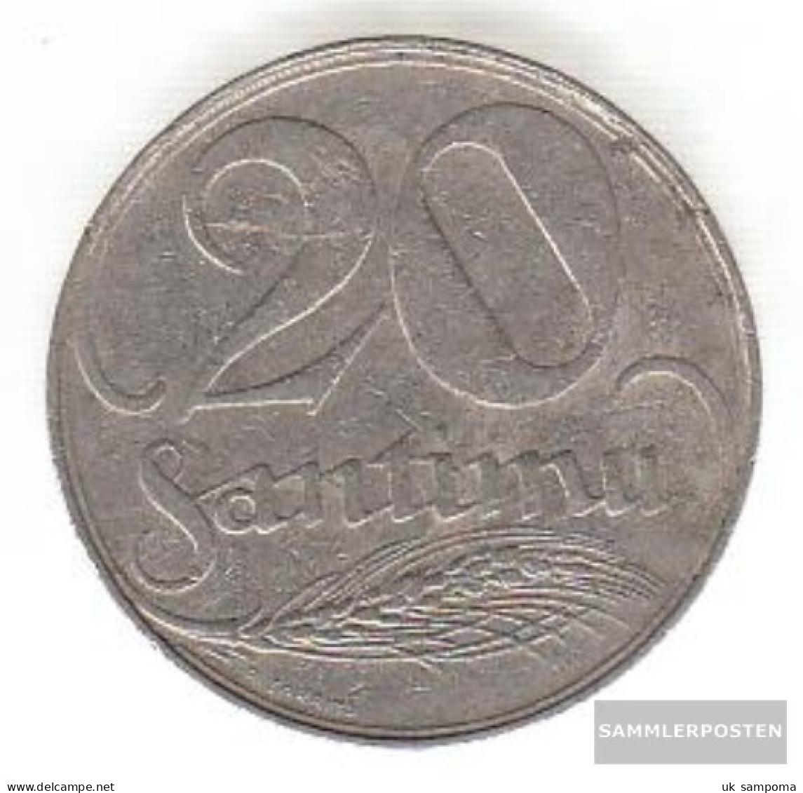 Latvia Km-number. : 5 1922 Very Fine Nickel Very Fine 1922 20 Santimi Crest - Latvia