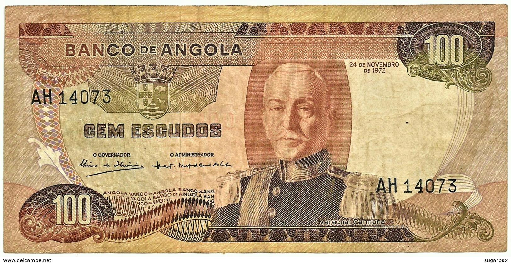 Angola - 100 Escudos - 24.11.1972 - Pick 101 - Série AH - Marechal Carmona - PORTUGAL - Angola