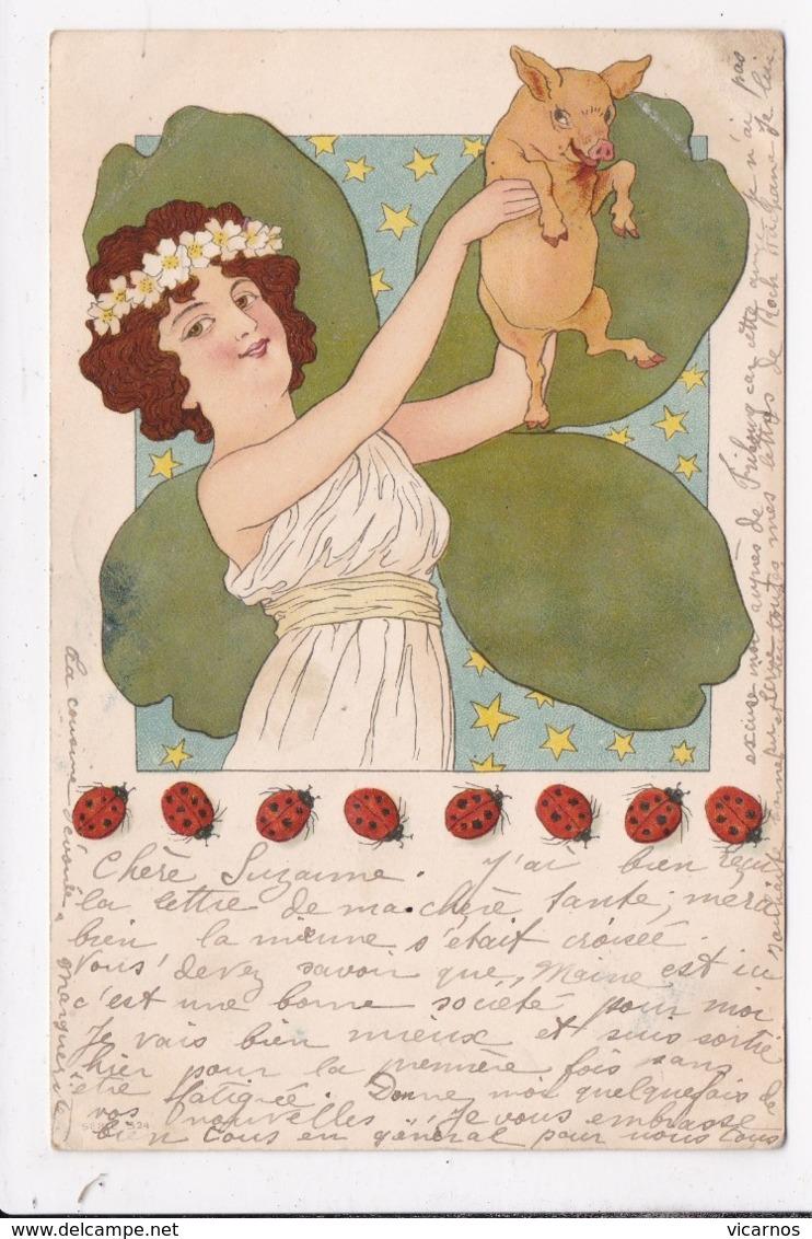 CP  ILLUSTRATEUR Femme Trefle Cochon Coccinelles - 1900-1949