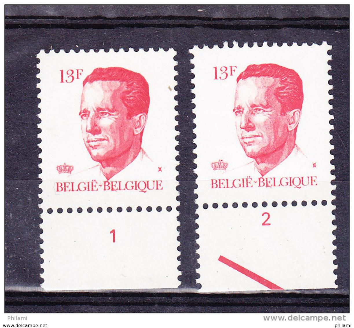 BELGIQUE COB 2203 ** MNH PAIRE AVEC NR PL 1/2, GOMME BLANCHE. (4TJ30) - 1981-1990 Velghe
