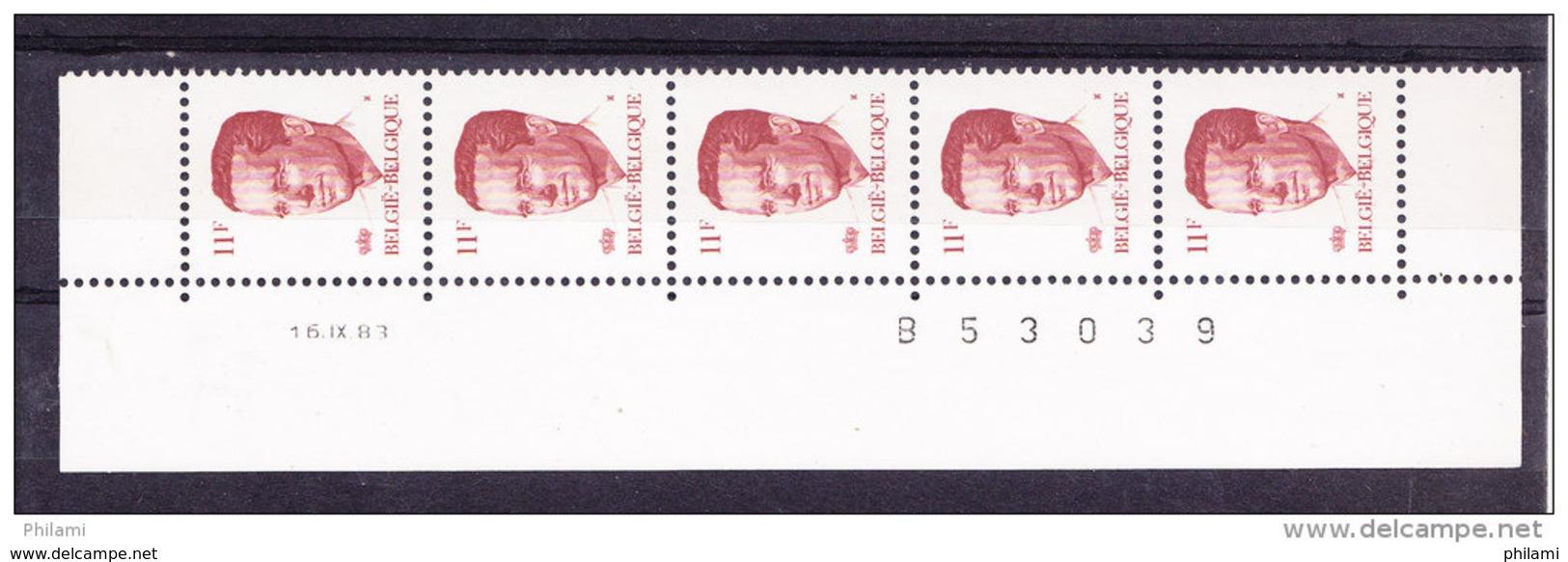 BELGIQUE COB 2085 ** MNH BANDE DE 5 DATEE, GOMME BLANCHE. (4TJ22) - 1981-1990 Velghe